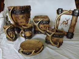 Country Bathroom Accessories by Deer Antler Wood Look Bathroom Set For The Home Pinterest