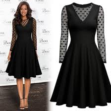 women elegant polka dot business cocktail party pleated