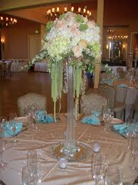 eiffel tower centerpiece with crystals roses hydrangea hanging