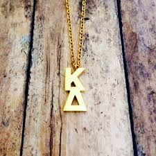 kappa delta classic letter necklace gold u2013 the lettered company
