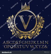Initial Monogram Fonts Striped Gold Letters Initial Monogram Coat Stock Vector 564548761