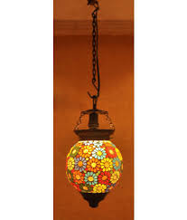 Home Decoratives Lal Haveli Glass Home Decorative Glass Ceiling Night Lamp Pendant