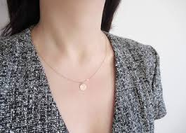 Personalized Monogram Necklace Rose Gold Initial Necklace Dainty Disc Necklace Rose Gold Disc