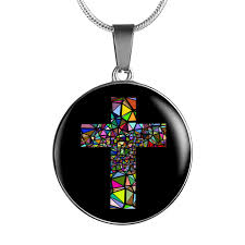 glass cross necklace images Stained glass cross necklace ruby peach png