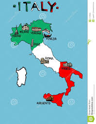 Italian Map Italy Map With Monuments Stock Illustration Image 41130852