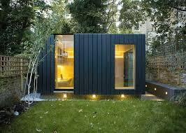 bureau de jardin design design exterieur bureau jardin lambris bois verticale coloré gris