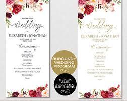 Blank Wedding Program Templates Wedding Templates Etsy