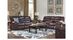 Rooms To Go Leather Recliner 2 349 99 Sky Ridge Mahogany 7 Pc Leather Reclining Living Room
