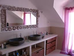 bathroom baeautiful attic bathroom interior with stone sink and