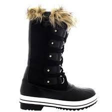 womens boots rubber sole womens fur cuff lace up rubber sole winter shoe