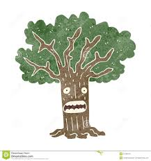 retro cartoon tree with worried face royalty free stock photos