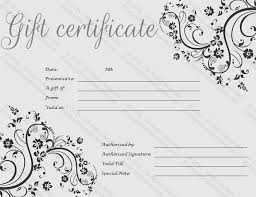 custom gift certificates black gift certificate template photography