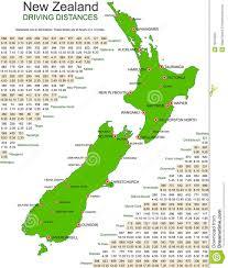 Driving Maps New Zealand Green Vector Map Driving Distances Stock Vector