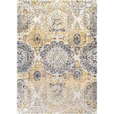 Faded Area Rug Nuloom Lita Faded Damask Gold 8 Ft X 10 Ft Area Rug Rzbd52a 8010