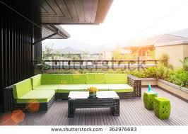 elegant bench table on wooden floor stock photo 362976680