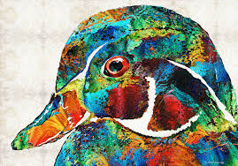 colorful wood duck by painting by