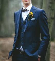 three pieces wedding suit navy with bow tie bowtie