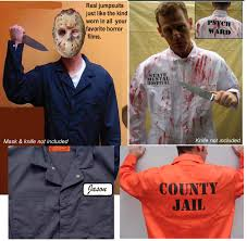 best big tall halloween costume jumpsuit jail inmate psycho