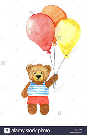 teddy balloons teddy hold bunch of balloons watercolor illustration