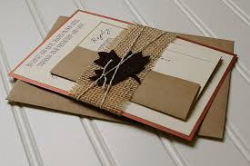 rustic autumn wedding invitations copper brown and burlap