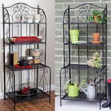 Bakers Rack Console Indoor Outdoor Folding Metal Bakers Rack Plant Stand With 4