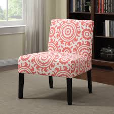 highland alcott pink coral medallion armless accent chair free