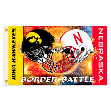 iowa hawkeyes vs nebraska cornhuskers 3ft x 5ft team flag