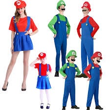 Mario Luigi Halloween Costume Aliexpress Buy Adults Kids Super Mario Bros Cosplay