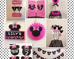 Centerpieces For Minnie Mouse Party by Minnie Mouse Birthday Clubhouse Sign Banner Personalized