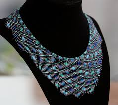 bead necklace style images Old colors new style aqua seed bead necklace by axmxz jpg
