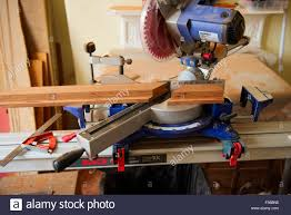 Wood Saw Table Sliding Compound Mitre Circular Saw On Saw Table Cutting Mitre In