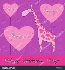 s day giraffe valentines day card pink giraffe pink stock vector 550804417
