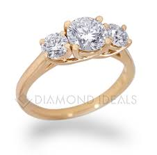 engagement ring gold diamondideals three trellis engagement ring in yellow gold