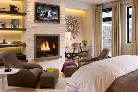 appealing bedroom with fireplace for calmness rest