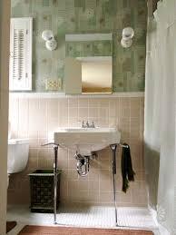 Retro Bathroom Lighting Wallpaper And Lighting For Pam U0027s Bathroom Beige Brown Yellow