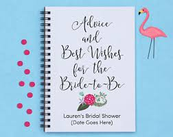 bridal shower best wishes bridal shower advice book etsy