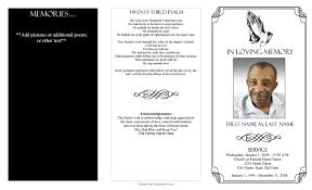 memorial program templates black and white funeral program template with poem and praying