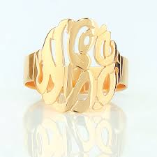 gold monogram ring 14k gold monogram ring 5 8 inch