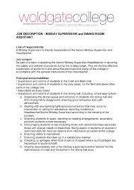 Dining Room Supervisor Job Description - Dining room supervisor job description