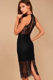 black dress lace halter dress midi dress