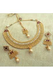 wedding necklace images Copper beautiful gold plated maroon wedding necklace set jpg