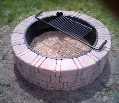 Fire Pit Ring With Grill by Classic Patio Ideas With Stacked Stone Round Menards Fire Pit And