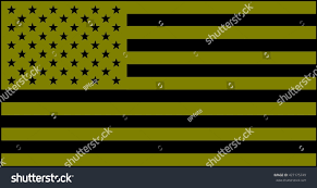Black And Yellow Flag American Flag Olive Green Black Version Stock Illustration