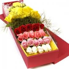 Roses In A Box Send 2 Dozen Mixed Roses In A Box To Cebu