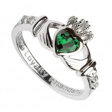 zirconia stone rings images Hallmarked sterling silver claddagh birthstone ring may with green jpg
