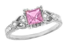 loving hearts art deco antique style engraved princess cut pink
