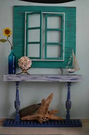 false window and credenza beach inspired rustic simple decor