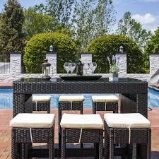 Outside Patio Bar by Sunnydaze Mombasa 7 Piece Outdoor Patio Bar Set With Olive Grey