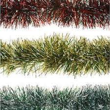 2m 6ply thick garland snow tipped tinsel tree home