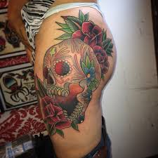 jdm tattoo sleeve sugar skull tattoo on woman u0027s thigh with red roses symbols sugar